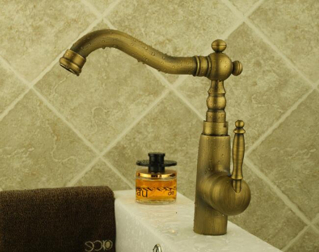 Top quality bathroom & Kitchen hot and cold water sink faucets deck mounted single handle basin taps antique brass tap mixer
