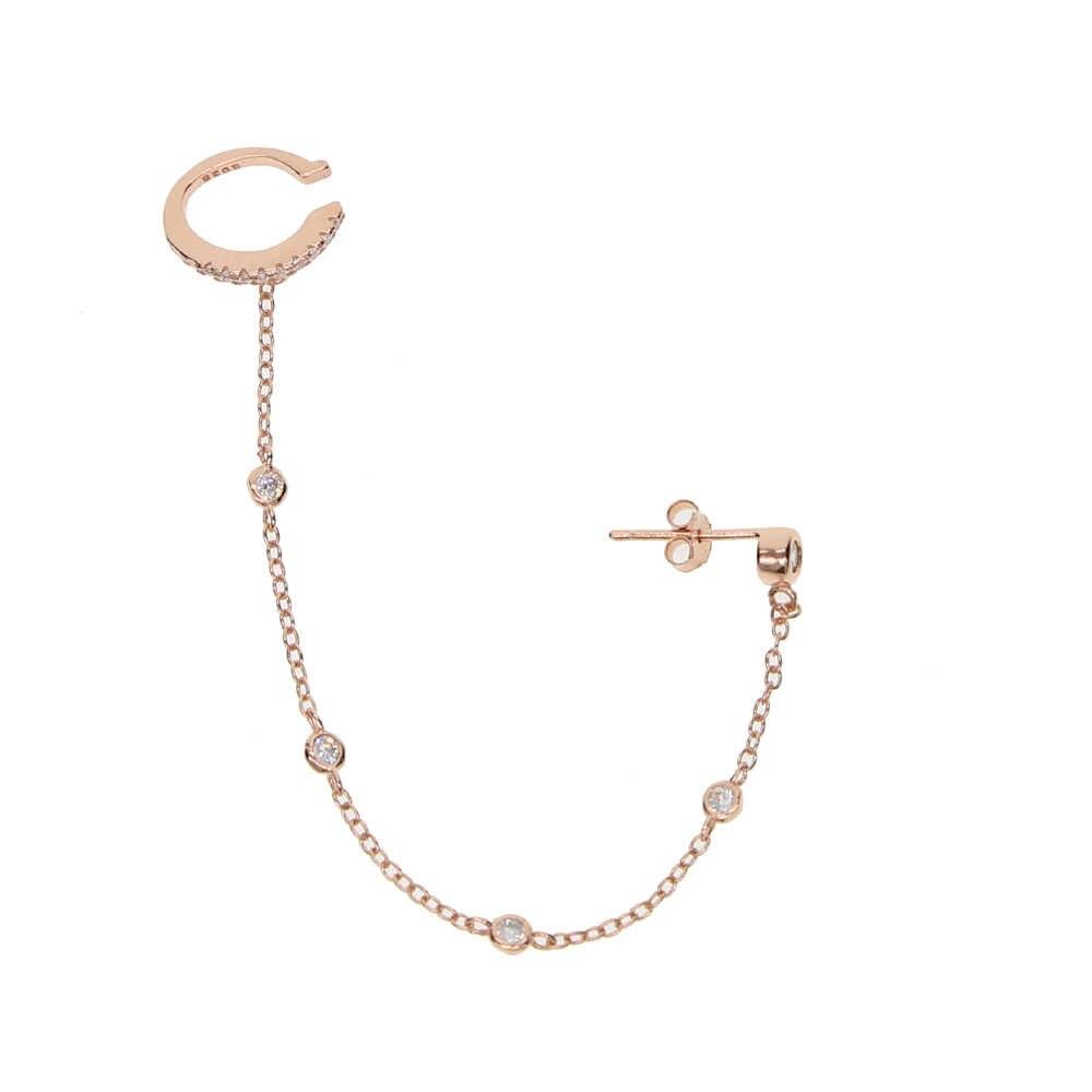 Koreańska wersja 925 srebrny biżuteria Tassel kolczyki moda Retro kolczyki z długim łańcuszkiem łańcuch metalowy mankiet kolczyki