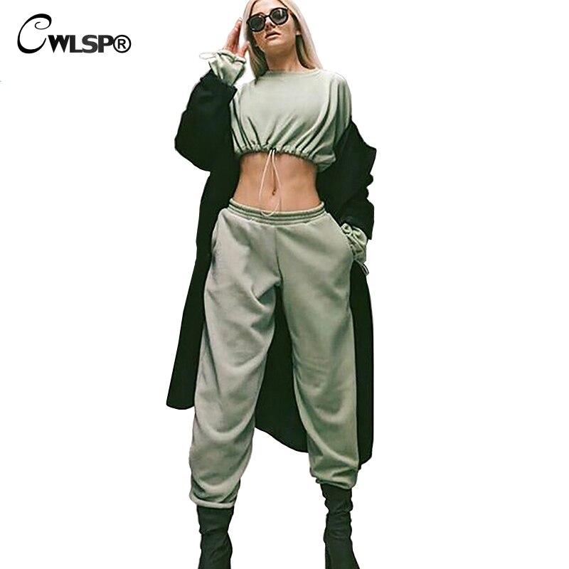 CWLSP 2018 Mode Survêtement Pour Les Femmes Deux Pièces Ensemble Récolte sweatshirt hauts Et Pantalons à lacets Streetwear Femmes Tissu Hanche HopQA2745