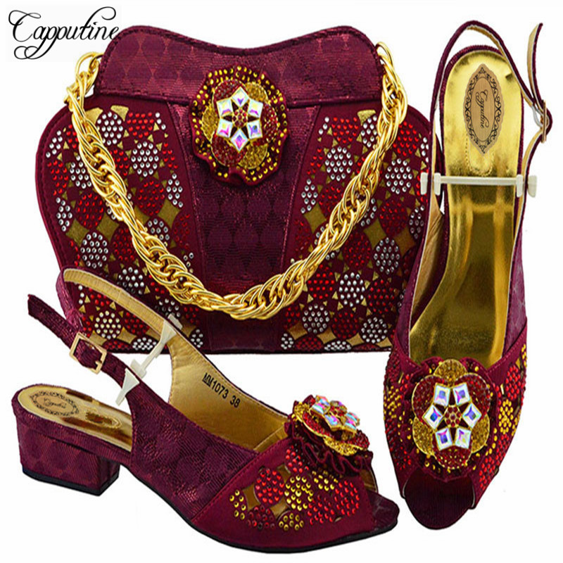 Capputine New Arrival Fashion Italian Shoes And Bag Set African Woman Shoes And Bag Set For Wedding Italian In Women Party Shoes все цены