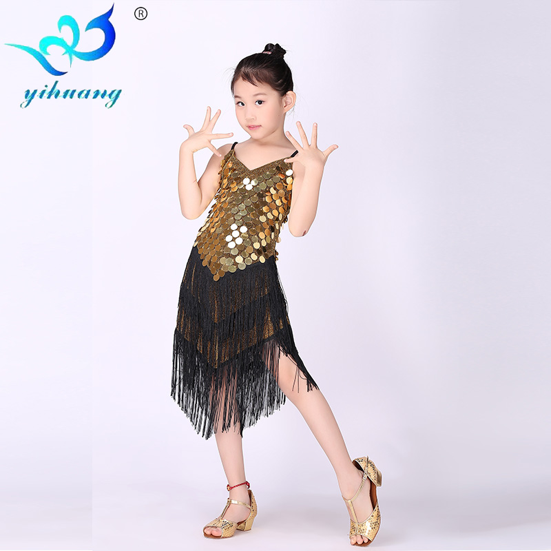 Buy Cheap Girl Latin Dance Dress Sequin Tassel Dancewear Clothing Girls Salsa Dresses Stage Wear Costumes Kids Strap Ballroom Dressing