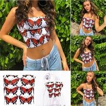 Women Tube Tops Casual Off Shoulder Boob Bra Strapless Bandeau Crop Summer Butterfly Print