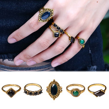 5Pcs/set Turkish Vintage Crystal Ring Sets Antique Gold Color Nature Stone Midi Finger Rings For Women Steampunk Jewelry