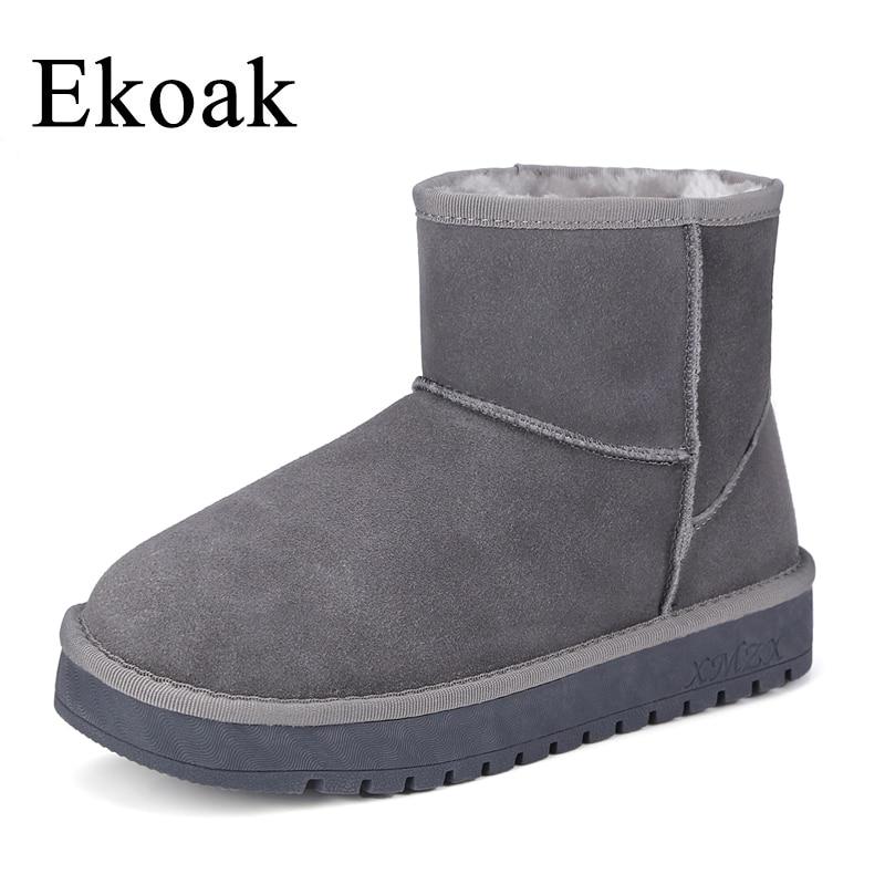 Ekoak Winter Cow Suede Leather Snow Boots Warm Plush Women Ankle Boots Fashion Ladies Flat Platform Shoes Woman Rubber Boots