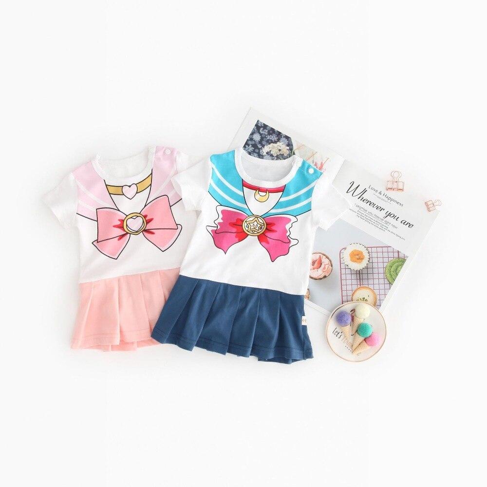 Baby Girl Siamese Dresses Children Sailor Moon Costume 2019 Summer Short Sleeve Onesie   Romper   Dress Up Magical Festival Clothes