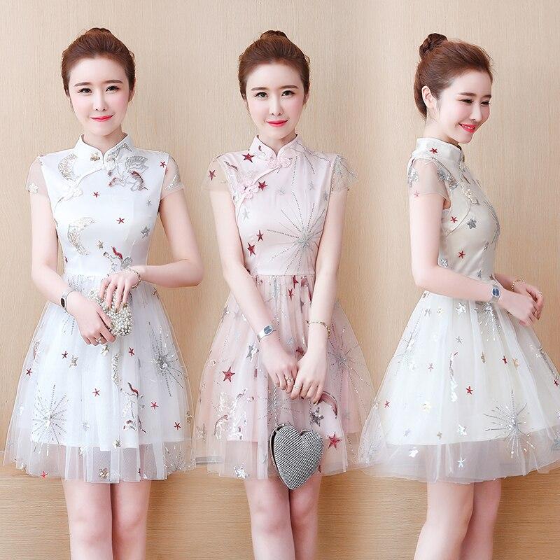 2020 Qipao White Lace Cheongsam Modern Chinese Traditional Wedding Dress Women Oriental Collars Evening Qipao Dress
