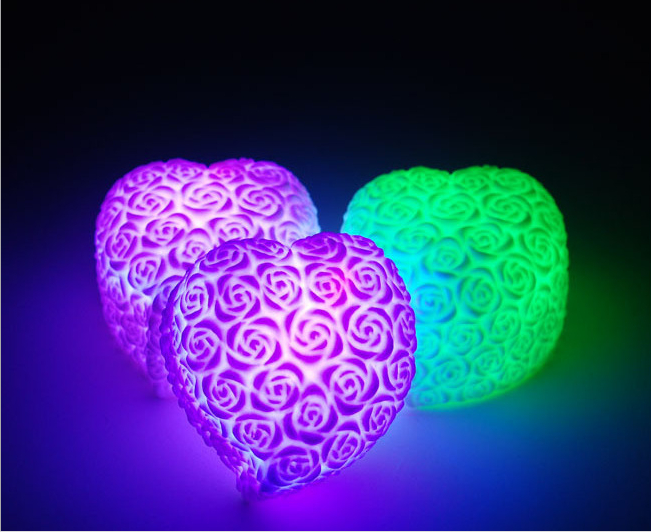 Hot Sale Beautiful Seven Changing Colors Heart Silicon LED Light  Lamp For Bedroom & Bar & Wedding Romantic Life стулья для салона led by heart 2015
