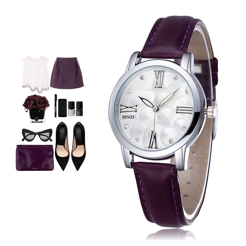 Luxury Brand Quartz Watch women Watches Ladies 2018 Leather Fashion Dress Wristwatch 9 Color Montre Femme Relogio Feminino Binzi цены