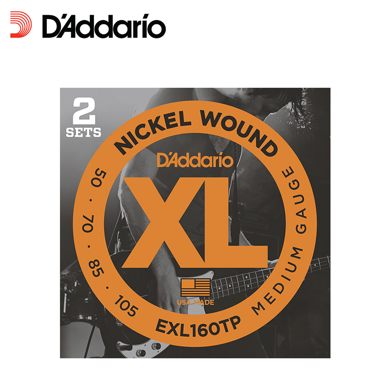 D'addario Twin-Pack Round Wound Nickel Plated Steel Wrap Bass Guitar String, Long Scale, EXL160tp EXL170tp, 2 Sets alice 5 string banjo strings coated copper alloy wound and plated steel string 0