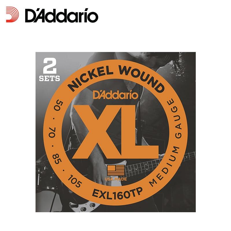 D'addario Twin-Pack կլոր վերքը նիկելի ծածկված պողպատե փաթաթված բաս կիթառի լարային, երկար սանդղակով, EXL160tp EXL170tp, 2 հավաքածու