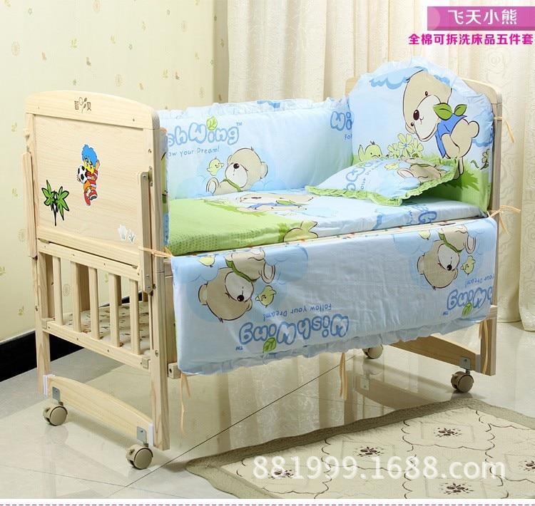 Promotion! 6PCS Bear Baby bedding set character crib bedding set 100% cotton baby bedclothes (3bumper+matress+pillow+duvet) promotion 6pcs bear bedding set 100