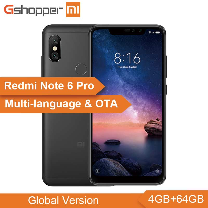 "New Global Version Xiaomi Redmi Note 6 Pro 4GB RAM 64GB ROM Mobile Phone Snapdragon 636 Octa Core 6.26"" 19:9 Full Screen 4000mAh"