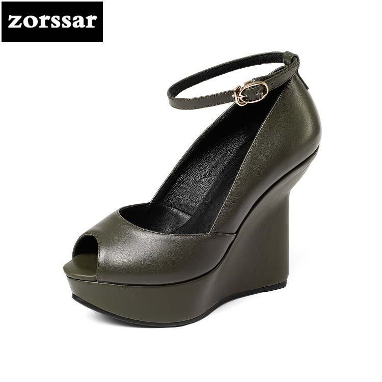 {Zorssar} 2018 Summer New Genuine Leather womens shoes Wedges Peep toe High heels Platform pumps shoes ladies Ankle Strap heels summer shoes women casual platform rhinestone high heels wedges sandals woman 2017 fashion genuine leather womens peep toe pumps