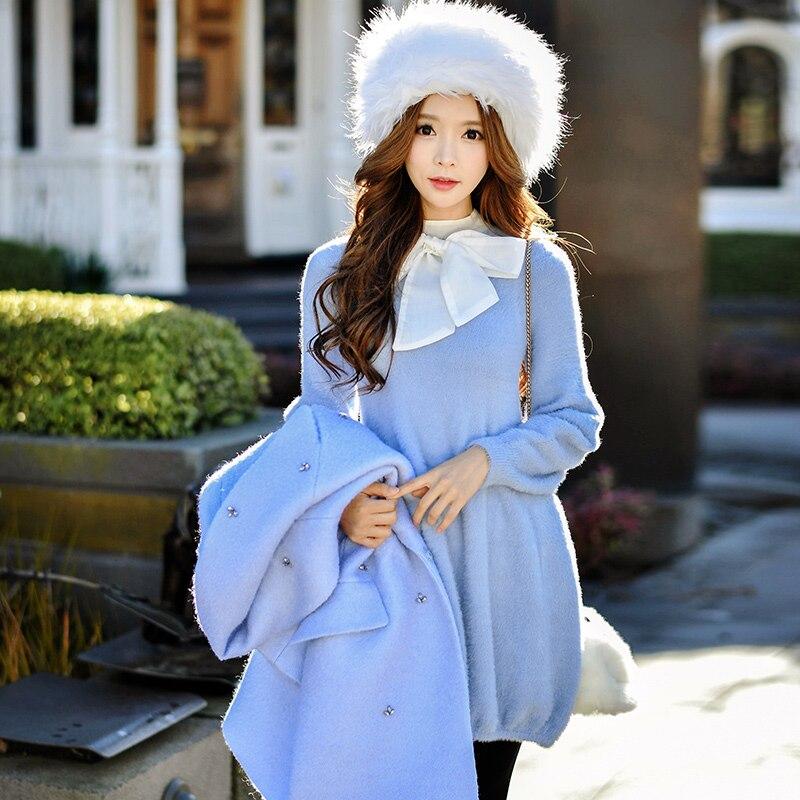 dabuwawa knit dress 2016 autumn and winter font b women s b font new stand collar
