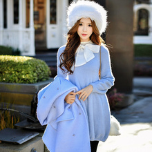 dabuwawa knit dress 2016 autumn and winter women's new stand collar loose casual sweater dresses pink doll