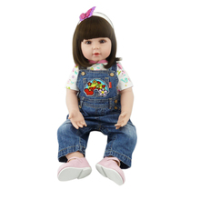 22″ girl reborn baby dolls Silicone Vinyl Reborn babies dolls Jeans wearing girl d toddler dolls kids birthday gifts bonecas