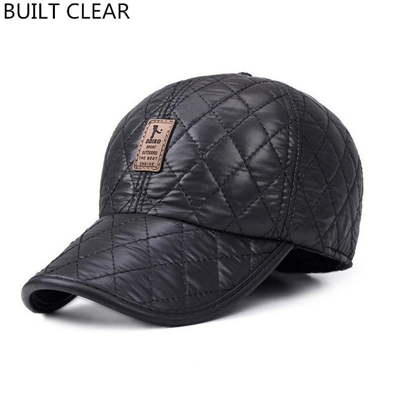 (BUILT CLEAR) snapback autumn and winter warm ear protection gorras outdoor high-quality design brand men's golf baseball cap new high quality warm winter baseball cap men brand snapback black solid bone baseball mens winter hats ear flaps free sipping