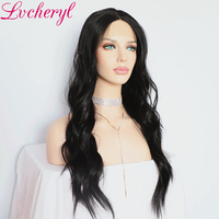 Lvcheryl Black Color Natural Wave Futura Material High Quality Glueless Synthetic Lace Front Wigs For Daily Wear