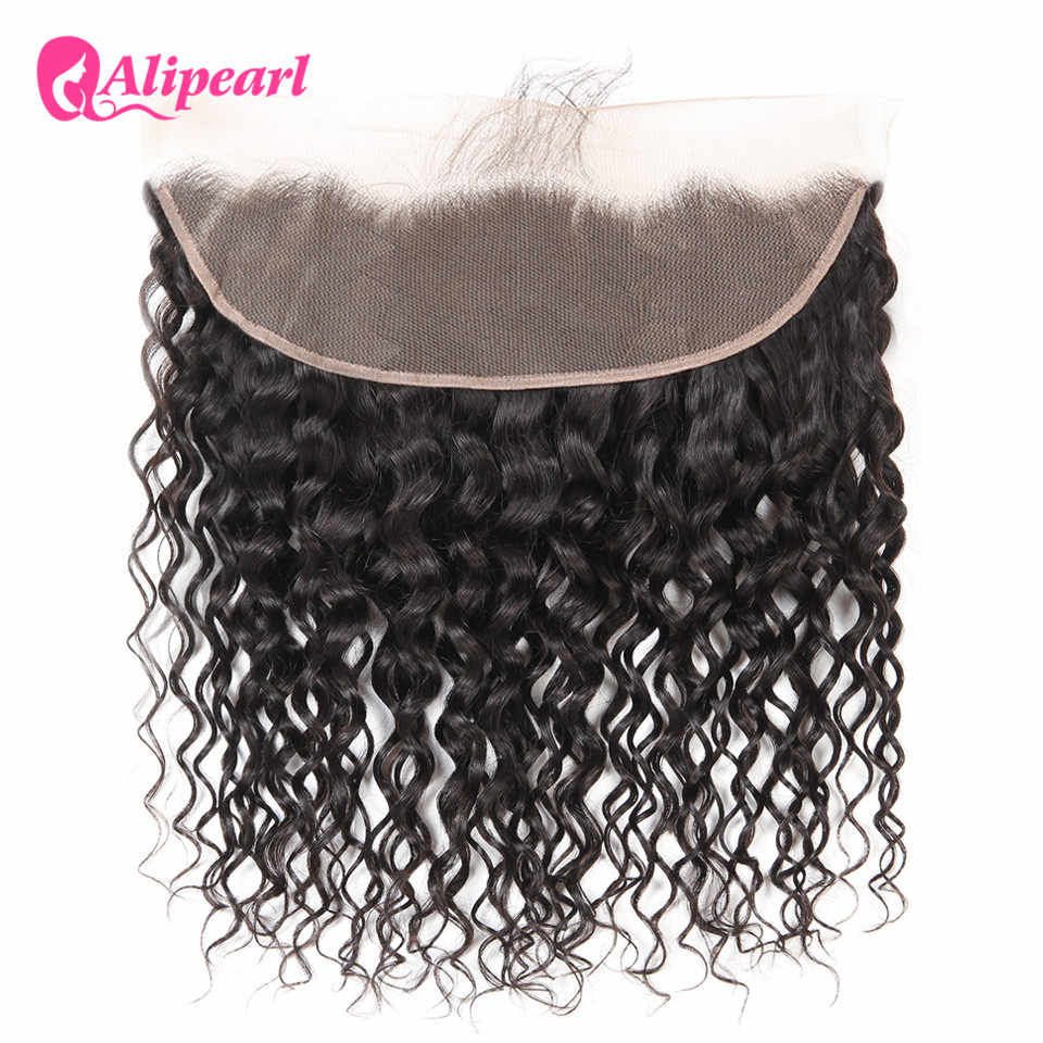 AliPearl Hair Brazilian Water Wave Lace Frontal 13X4 with Baby Hair Human Hair Natural Hairline Color 1b Remy Hair Free Shipping