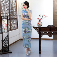 Vintage Print Flower Sexy Slim Women Cheongsam 2019 New Classic Satin Chinese Traditional Qipao Elegant Party Dress Gown