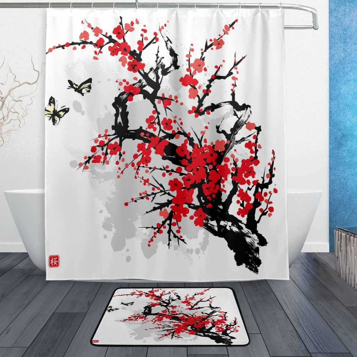Asian Japanese Shower Curtain and Mat Set, Floral Flower Cherry Blossom Waterproof Fabric Bathroom Curtain