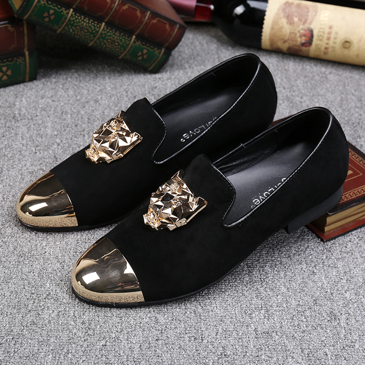 Gold And Black Open Toe Shoes