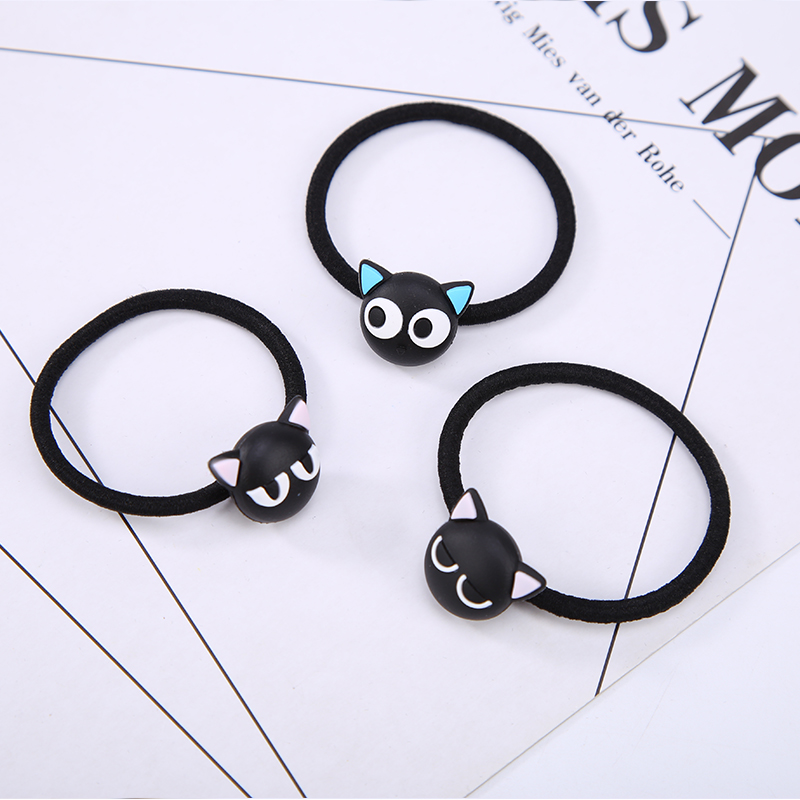 Black Cats Elastic Hair Bands Rubber Rope for Women Girl Headwear Hair Accessories Animal Hair Ties 5 inch hair comb for pets cats