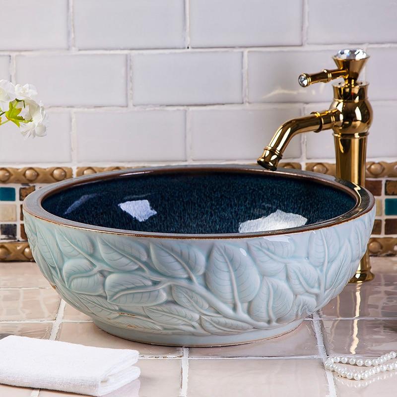 Europe Vintage Style Countertop Basin Sink Handmade Ceramic Bathroom Vessel  Sinks Bowl Wash Basin Hand Painted Bathroom Sinks In Bathroom Sinks From  Home ...