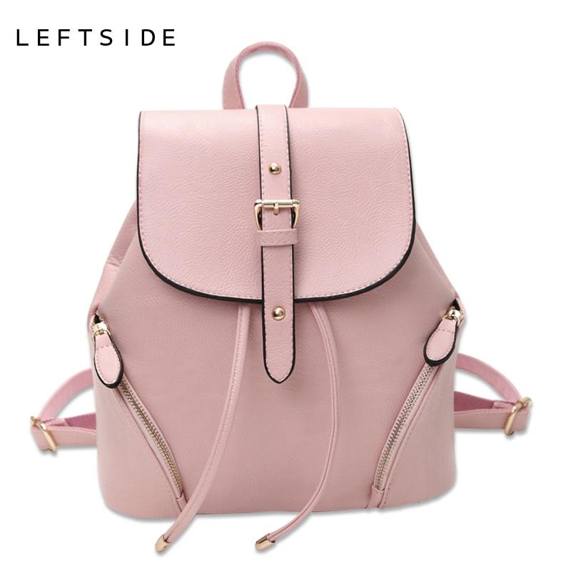 LEFTSIDE Women s Sweet PU Leather Backpack Schoolbag Female Beautiful Backpacks Women Bucket rucksack ladies Back