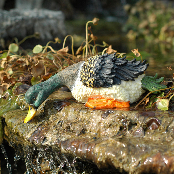 Duck Drinking Water Figurines Fairy Garden Animal Ornaments Home Decorations Tabletop Decoration Souvenir Crafts