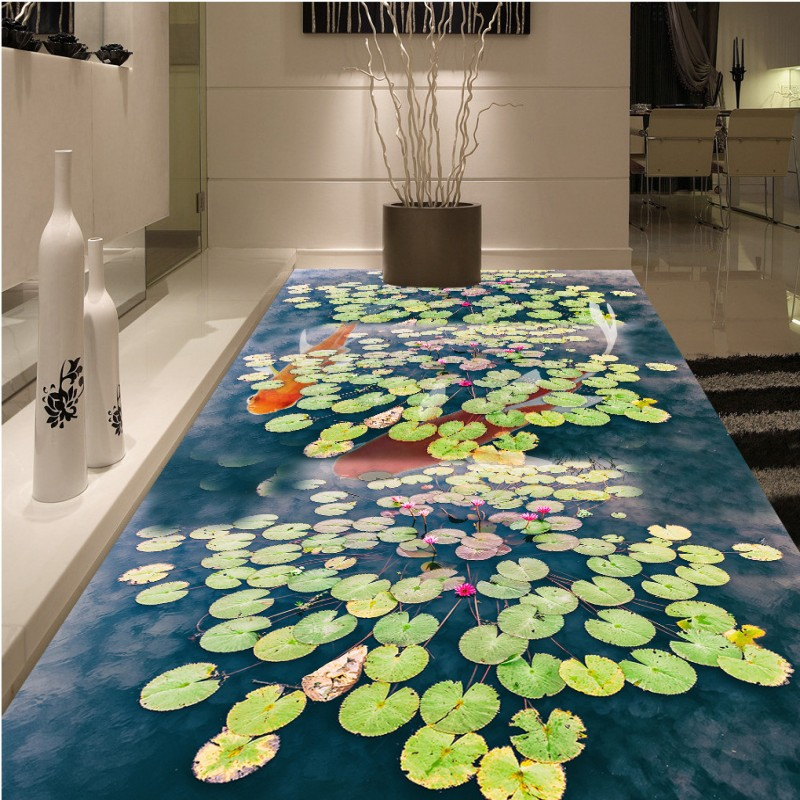 Free shipping photo Carp Wang lotus leaf floor painting 3d custom office bedroom wallpaper living room waterproof mural  beibehang wallpaper custom home decorative backgrounds powerful bear paintings living room office hotel mural 3d floor painting