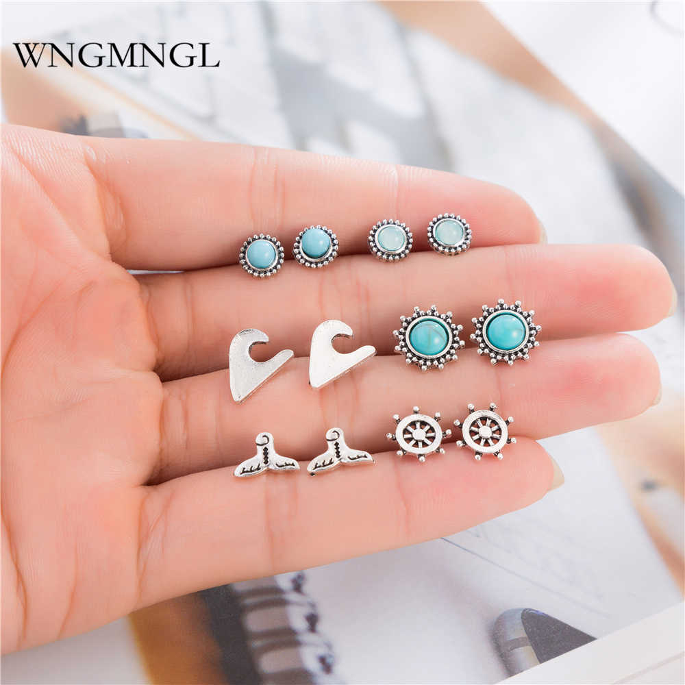 WNGMNGL 6 Pairs/Set 2018 New Boho Punk Vintage Silver Color Round Blue Stone Charm Stud Earrings Set Jewelry For Women Gift