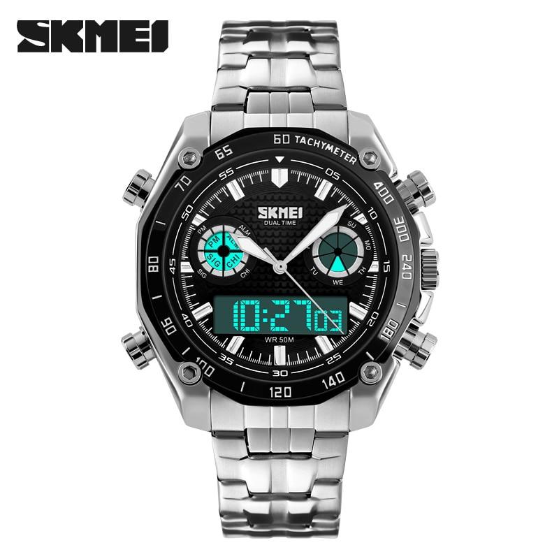 Men's Watch Quartz Hour Dual display Full Steel Wrist Watch