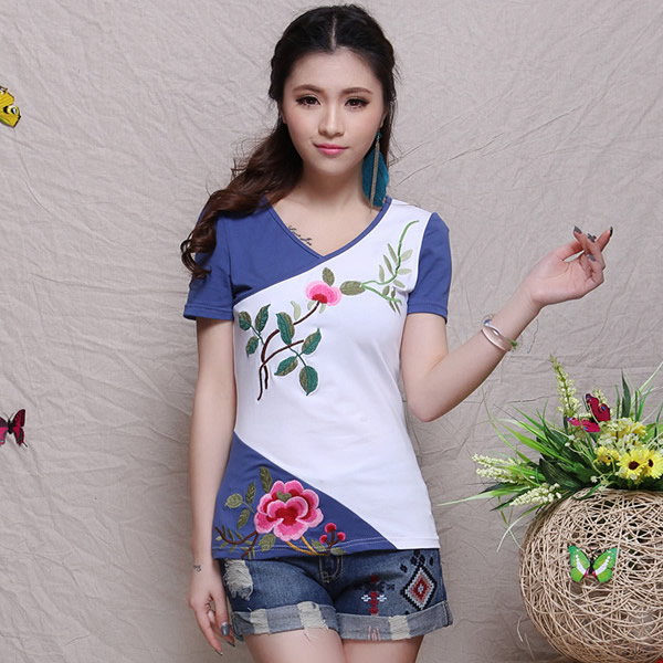 2014 summer chinese style women top color block decoration embroidered short-sleeve T-shirt female - Ruby Lu's Chinese store
