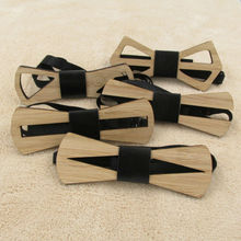 Wooden Bow Tie Geometric Design