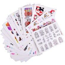 50 sztuk losowe style Nail Art tatuaże naklejki do manicure zestawy kwiat Cartoon śliczne wzory naklejki transferu wody uroda tipsy TRM50