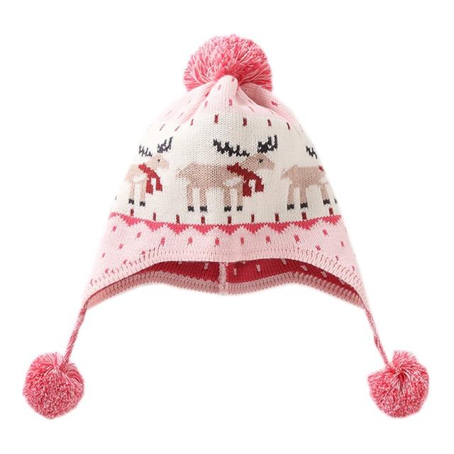 53b3cc44598 baby   kids girls reindeer print pink earflap knitted warm fall winter  beanie hats children fashion