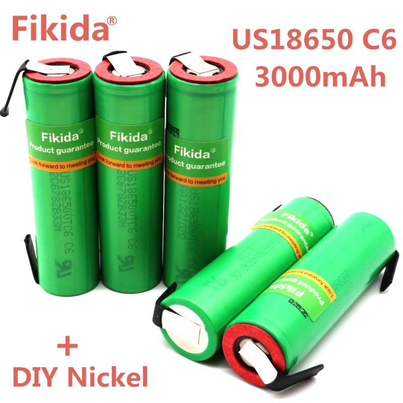 Fikida VTC6 3.7V 3000mAh 18650 Li-ion Battery 30A Discharge for Sony US18650VTC6 Tools e-cigarette batteries+DIY Nickel new 10pcs vtc6 3 7v 3000mah rechargeable li ion battery 18650 for sony us18650vtc6 30a electronic cigarette toys tools flashligh