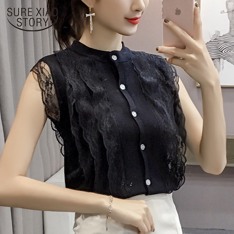 new summer 2018 women clothing lace short sleeved   blouses   solid slim sweet lady OL style fashion women   blouse     shirt   0487 30