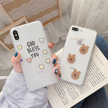 Silicone soft and bends case for iphone 6 6splus cute bear bare back xs max xr x 7 8 plus 10 cookies fundas