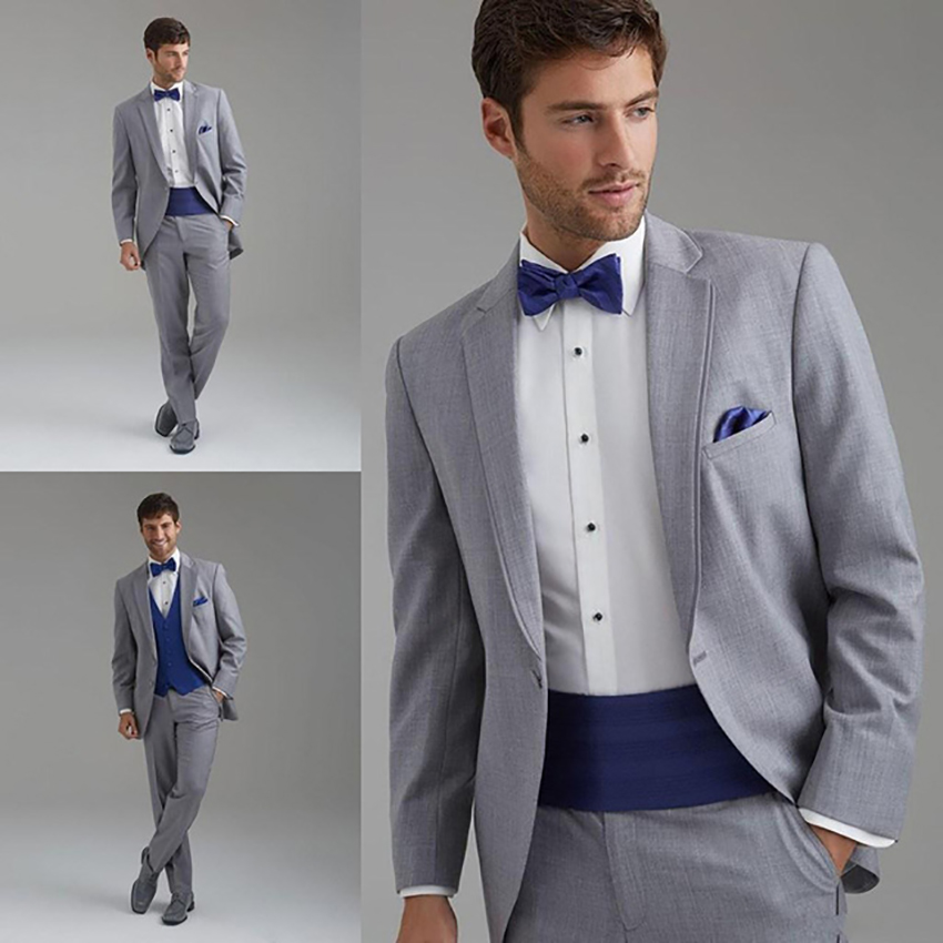 2019 Latest Coat Pant Designs Grey Men Suits Costume Homme Mariage