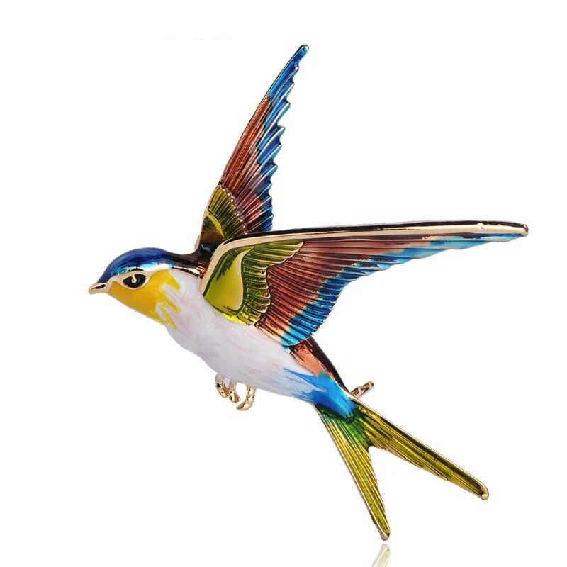 Muylinda Uccello Smalto Spille Donne Rondine Spille E Spille s Sciarpa Dei Monili Clip di Uccelli di Banchetto Del Rhinestone Spille Gioielli