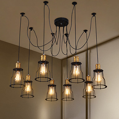 8 heads Style Loft Industrial Pendant Lighting Living Dinning Room Rustic Vintage Lamp LED Edison Light Fixture Lamparas iwhd loft style creative retro wheels droplight edison industrial vintage pendant light fixtures iron led hanging lamp lighting