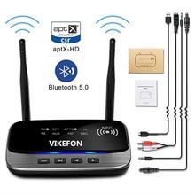 Bluetooth Transmisor receptor Adaptador de Audio 5,0 de largo alcance para TV Home Stereo PC Headphone, AptX LL/HD, RCA óptico AUX 3,5mm