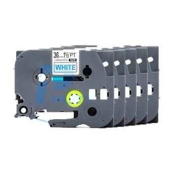 5PCS PUTY 36mm Blue on White TZe-263 tz263 TZ-263 label tapes compatible for  PT300 350 520 750 P700 D600 P-Touch label printers