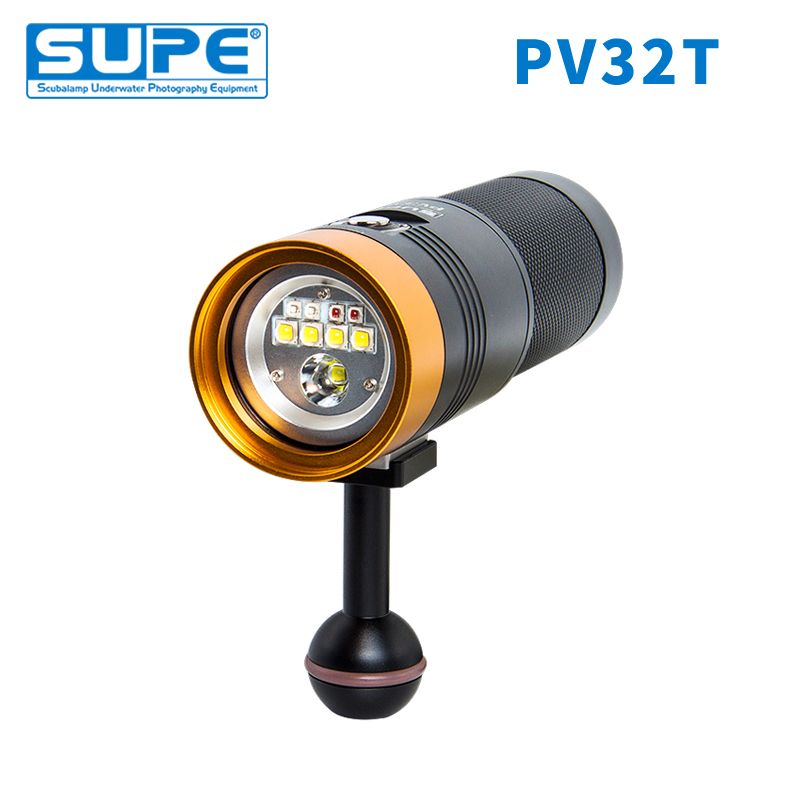 SUPE Scubalamp PV32T 3000Lumens White Red Blue Pink Spot Light Underwater Video Light Scuba Diving Light Photography Focus Light