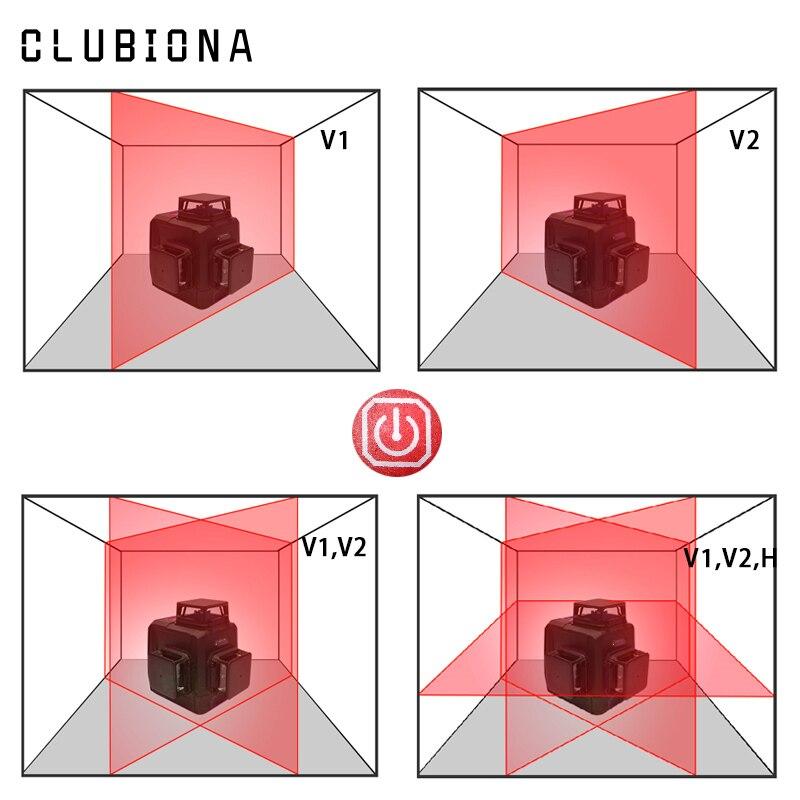 Clubiona 3D 12RC 12 líneas de nivel láser con batería de 5200 mah y Horizontal y Vertical de las líneas de trabajo por separado láser rojo haz las líneas - 2