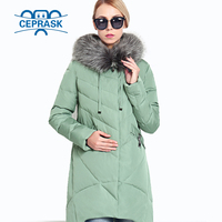 2018 New Winter Women's Coat Plus Size Hooded Fashion Warm Women Down Jacket High quality Biological Down Female Parkas Ceprask