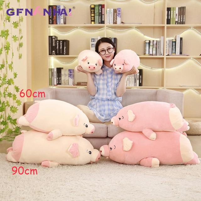 60/80 cm Bonito Animal Deitado Porco brinquedo de Pelúcia macia Para Baixo Crianças de algodão Do Bebê Apaziguar Pelúcia Travesseiro Brinquedos para o Aniversário Das Crianças presente
