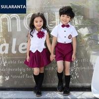 Children Girls Boys Summer Cotton Korean Student School Uniform Suit Set Shirt Tops Skirt Shorts Clothes